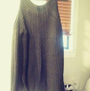 Black open sweater